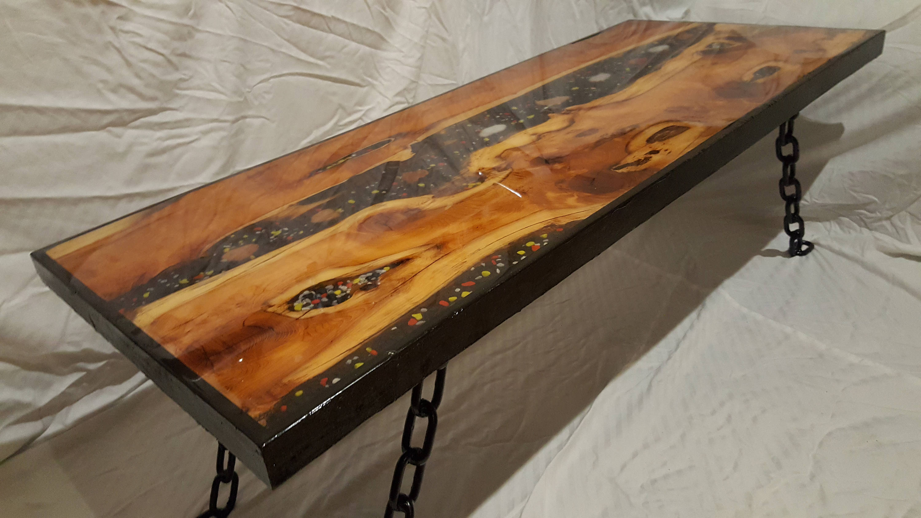 Stunning Epoxy Resin Coffee Table River Yew Wood Bespoke With